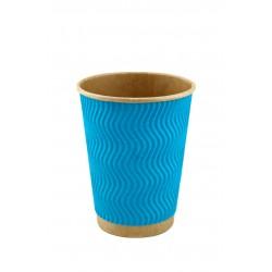 Стакан бумажный гофрированный голубой на крафтовой стенке S-волна 185мл Ǿ=71мм, h=71мм