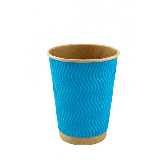 Стакан бумажный гофрированный S-волна 450мл | Голубой на Крафт стенке Ø=90мм, h=140мм