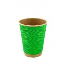 Стакан бумажный гофрированный зеленый на крафтовой стенке S-волна 185мл Ǿ=71мм, h=71мм
