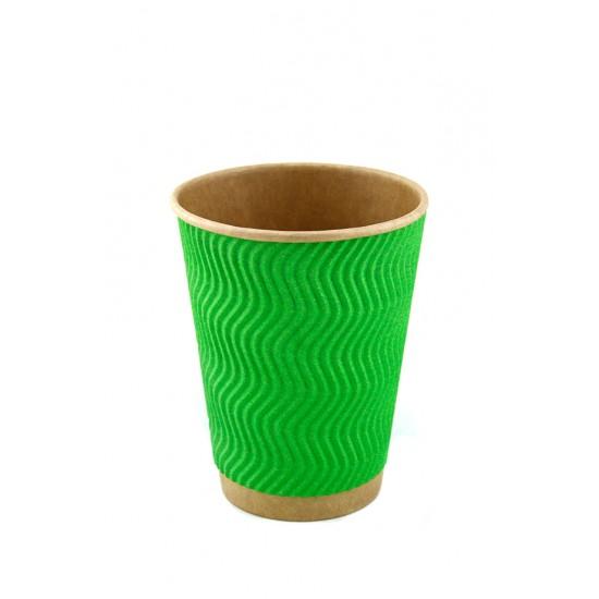 Стакан бумажный гофрированный S-волна 250мл | Зеленый на Крафт стенке Ø=80мм, h=89мм