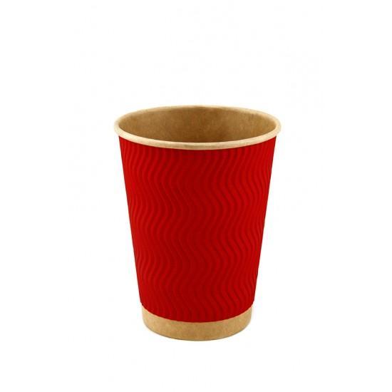 Стакан бумажный гофрированный красный на крафтовой стенке S-волна 450мл Ø=90мм, h=140мм