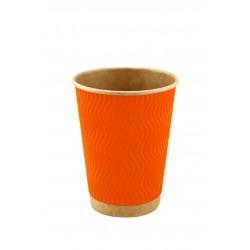 Стакан бумажный гофрированный оранжевый на крафтовой стенке S-волна 185мл Ǿ=71мм, h=71мм
