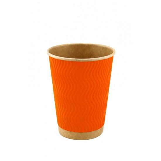 Стакан бумажный гофрированный S-волна 185мл | Оранжевый на Крафт стенке Ø=71мм, h=71мм