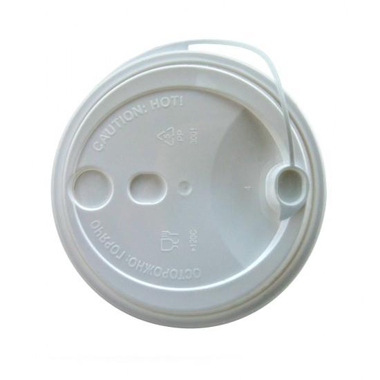 Крышка с питейником PP Ø=90мм | Белая для стаканов NEW