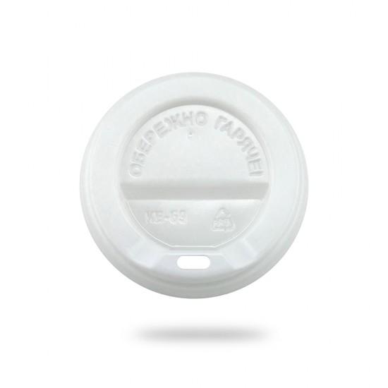 Крышка PS для бумажных стаканов Ø=69мм | Белая