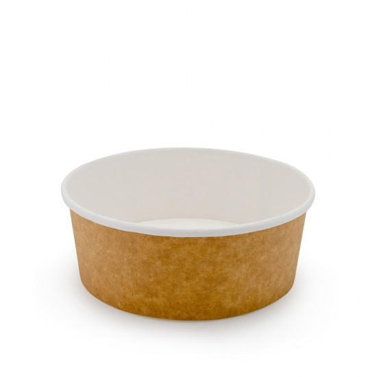 Контейнер бумажный круглый 550мл | Крафт/Белая 1PE Ø=142мм, h=53мм