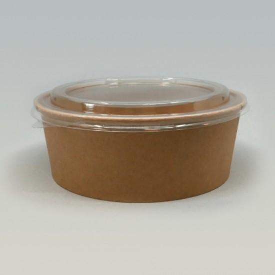 Контейнер бумажный круглый 1000мл | Крафт 1PE Ø=187мм, h=53мм