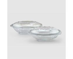Контейнер для салата с крышкой прозрачный РЕТ 145*175*65мм, 375 мл в комплекте с вилкой