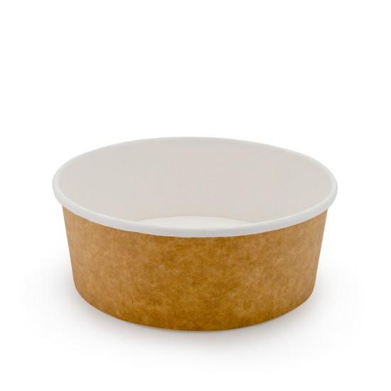 Контейнер бумажный круглый 750мл | Крафт/Белая 1PE Ø=145мм, h=67мм