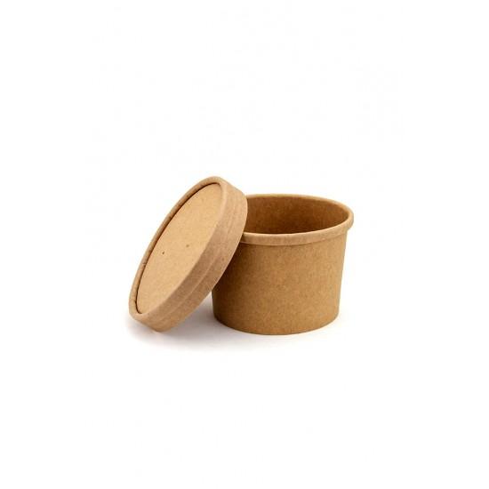 Комплект контейнера 230 мл бумажного крафт для супа (вторых блюд) и крышки крафт к нему