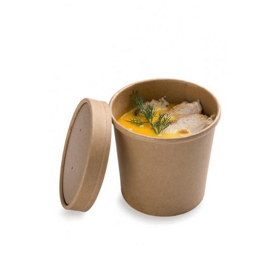 Комплект контейнера 340 мл бумажного крафт для супа (вторых блюд) и крышки крафт к нему