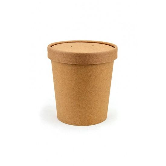 Комплект контейнер бумажный 445мл c крышкой | Крафт 1PE