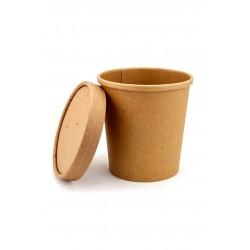 Комплект контейнера 445 мл бумажного крафт для супа (вторых блюд) и крышки крафт к нему