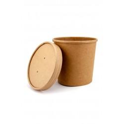 Комплект контейнера 760 мл бумажного крафт для супа (вторых блюд) и крышки крафт к нему