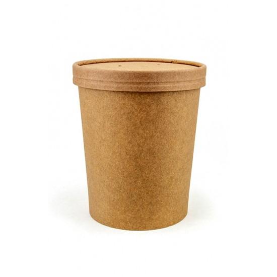 Комплект контейнера 1000 мл бумажного крафт для супа (вторых блюд) и крышки крафт к нему