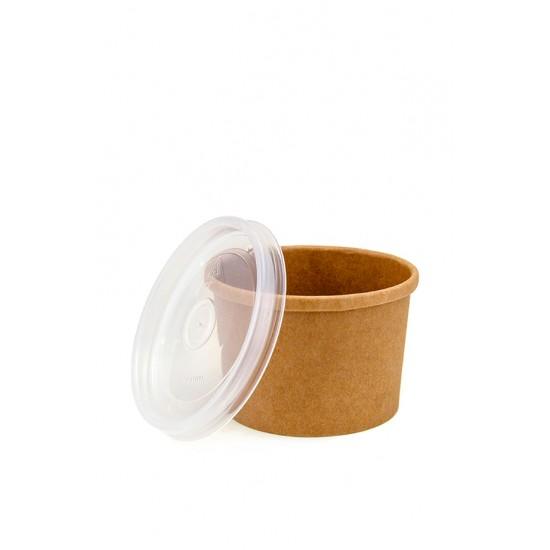 Комплект контейнер бумажный 230мл c крышкой PP | Крафт 1PE