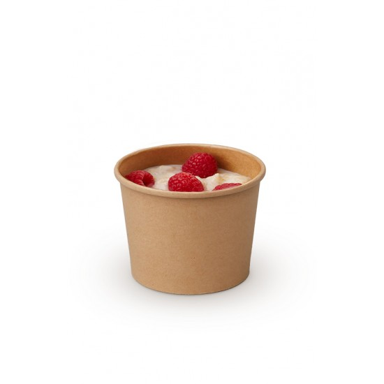 Комплект контейнера 230 мл бумажного крафт для супа (вторых блюд) и крышки РР к нему