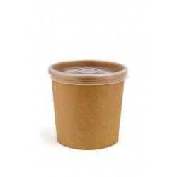 Комплект контейнера 340 мл бумажного крафт для супа (вторых блюд) и крышки РР к нему