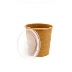 Комплект контейнера 445 мл бумажного крафт для супа (вторых блюд) и крышки РР к нему