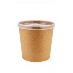 Комплект контейнера 760 мл бумажного крафт для супа (вторых блюд) и крышки РР к нему