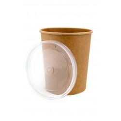 Комплект контейнера 1000 мл бумажного крафт для супа (вторых блюд) и крышки РР к нему