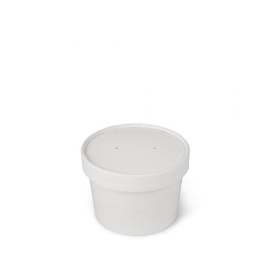 Комплект контейнера 230 мл бумажного белого для супа (вторых блюд) и белой бумажной крышки