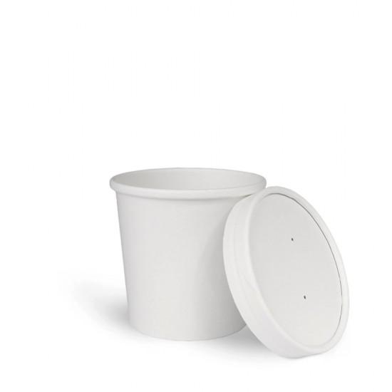 Комплект контейнер бумажный 445мл c крышкой | Белый 1PE