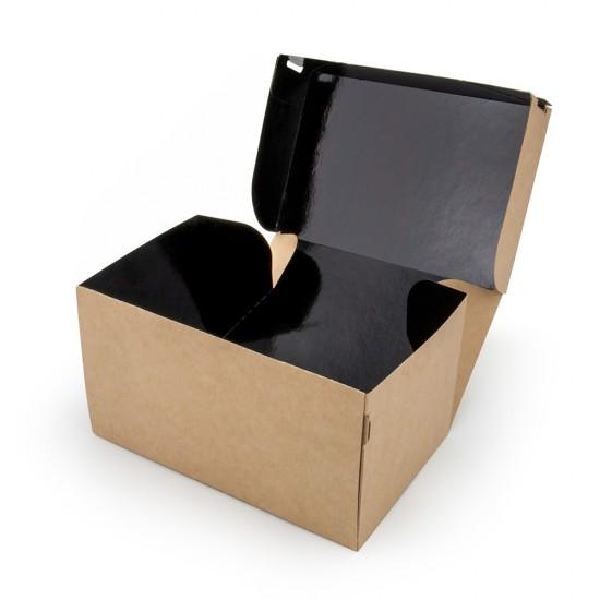 Коробка бумажная 1900мл | Крафт/Черная 1PE 230*140*60мм