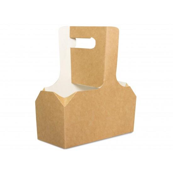 Холдер-держатель для 2-х стаканов бумажный с ручкой 240-550мл | Крафт