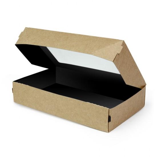 Контейнер бумажный с окошком 1450мл | Крафт/Черная 1PE 260*150*40мм PRO