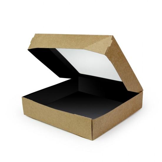 Контейнер бумажный с окошком 1500мл | Крафт/Черная 1PE 200*200*40мм PRO