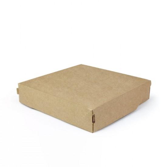 Контейнер бумажный без окна 2200мл | Крафт/Черная 1PE 200*200*55мм PRO