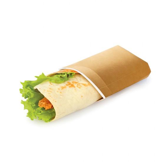 Упаковка бумажная для лаваш-роллов | Крафт/Белая 1PE 200*70*55мм