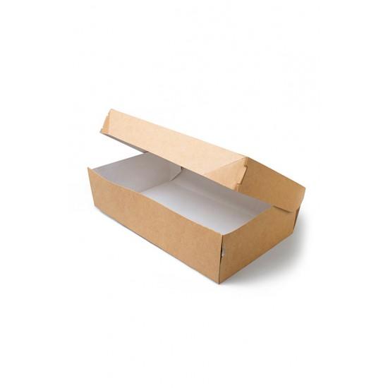 Контейнер бумажный для еды на вынос, 1РЕ, крафт 230*140*60мм