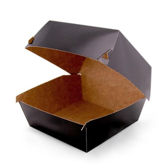 Коробка бумажная под бургер высокая | Черная/Крафт 118*118*86мм