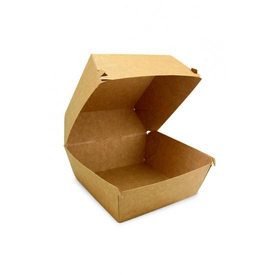 Коробка бумажная под бургер высокая   Крафт 118*118*86мм