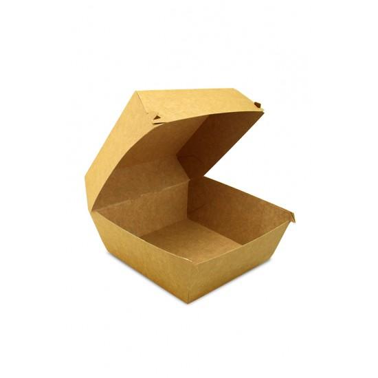 Коробка бумажная под бургер (Big Size) высокая | Крафт 130*130*100мм