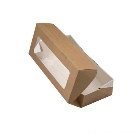 Контейнер бумажный с окошком универсальный 500мл | Крафт/Белая 1PE 170*70*40мм