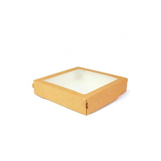 Контейнер для еды бумажный универсальный с окошком 260*260*40мм, 1РЕ крафт