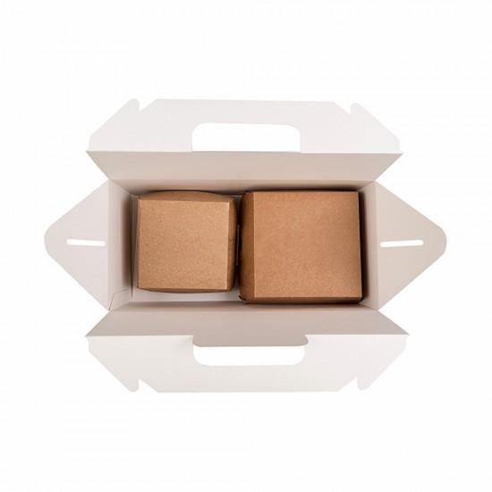 Короб бумажный с ручками   Крафт 288*142*98мм