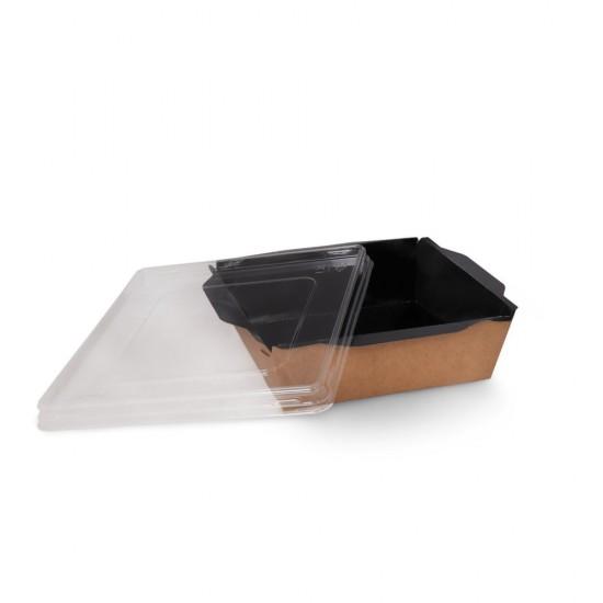 Контейнер бумажный 1200мл с плоской PET крышкой | Крафт/Черная 1PE 165*165*65мм