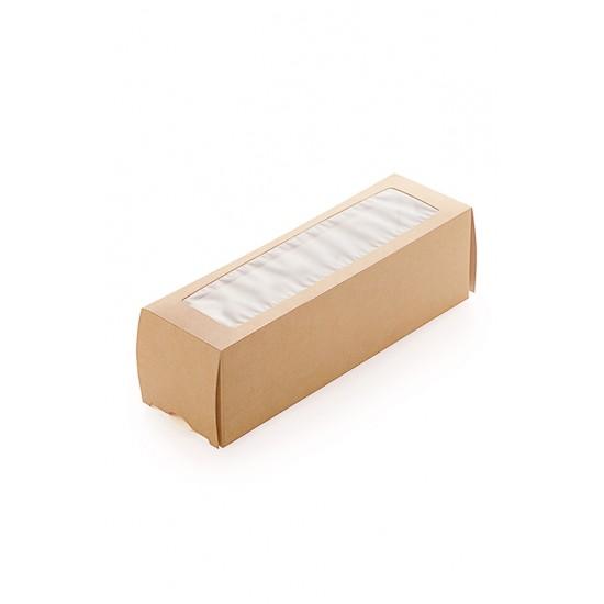 Коробка бумажная для 6 шт. макарун с окошком | Крафт/Белая 1PE 180*55*55мм