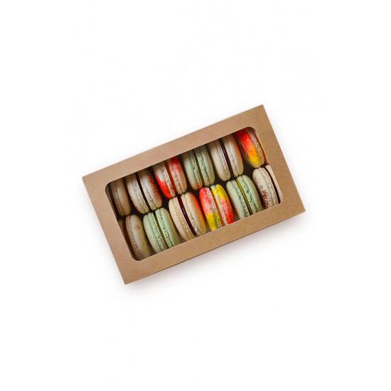 Коробка бумажная для 12 шт. макарун с окошком   Крафт/Белая 1PE 180*110*55мм