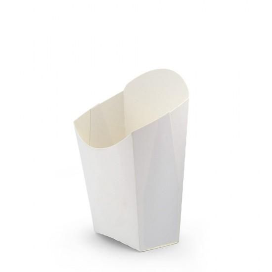 Коробка бумажная для картошки фри (М) малая   Белая 65*115мм