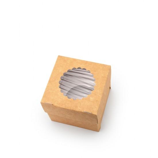Коробка бумажная для 1-го маффина (капкейка) с окошком | Крафт/Белая 1PE 100*100*100мм