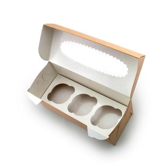 Коробка бумажная для 3-х маффинов (капкейков) с окошком | Крафт/Белая 1PE 250*100*100мм