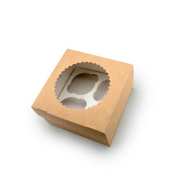 Коробка для 4-х маффинов (капкейков) с окошком, 160*160*100 мм, крафт 1PE