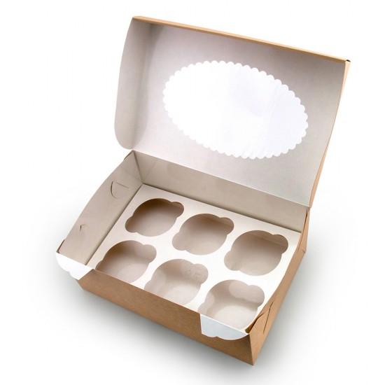 Коробка бумажная для 6-ти маффинов (капкейков) с окошком | Крафт/Белая 1PE 250*170*100мм