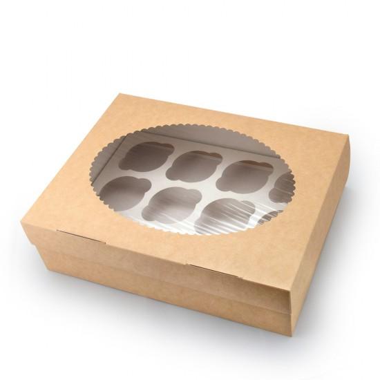 Коробка бумажная для 12-ти маффинов (капкейков) с окошком | Крафт/Белая 1PE 330*250*100мм