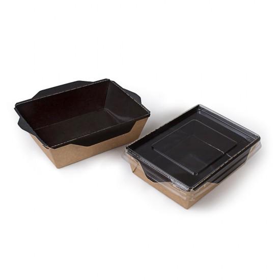 Контейнер бумажный 450мл с плоской PET крышкой | Крафт/Черная 1PE 145*100*55мм